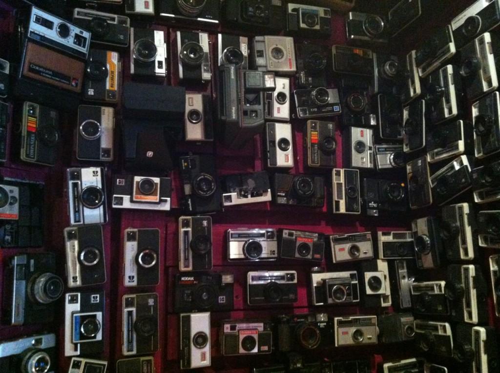wall of cameras